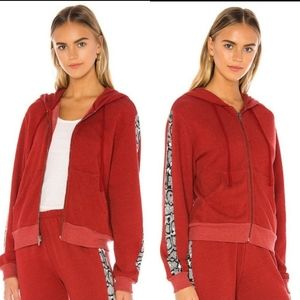⭐WILDFOX RED PYTHON HOODED TRACK JACKET NEW XS⭐